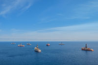 ship and drilling platform ,  offshore drill ships, ocean aerial