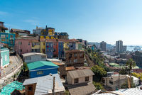 View over the colorful houses of Valparaiso in Chile to the Pacific Ocean