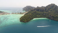 Aerial drone photo of iconic tropical beach and resorts on Phi Phi island and Yong Kasem Bay (called Monkey beach)