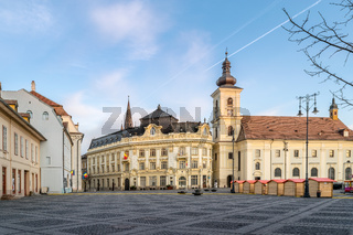 View to the Big Square in Sibiu, during the opening of the Easter Fair