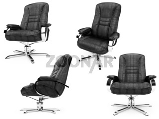 Isolated armchairs over white background