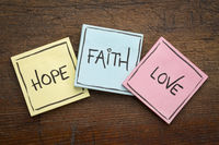 faith, love and hope on sticky notes