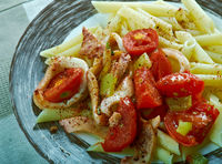 Penne with squid,
