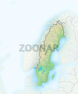 Schweden, Reliefkarte.