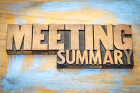 meeting summary banner in wood type