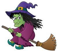 Witch on broom theme image 1 - picture illustration.