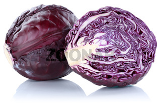 Blaukraut Rotkohl Kraut Kohl geschnitten Gemüse Freisteller freigestellt isoliert