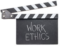work ethics text on clapboard