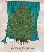 Vintage Christmas card with Christmas tree.