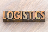 logistics word abstract in wood type