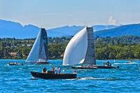 Sailing boats with spinnacker sail on Lake Geneva, Bol d'Or Mirabaud regatta, Geneva, Switzerland