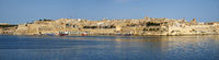The panoramic view of Valletta capital city and Grand harbor from the Kalkara peninsula. Malta