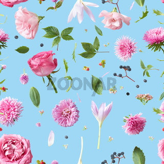 Elegance Seamless wallpaper pattern with of pink flowers