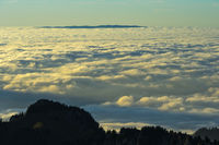 View from the Berneuse peak across the sea of fog above the Lake Geneva, Switzerland