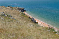 Ocean coast and colorful sea surface