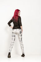 Fashion shoot of a red-haired woman