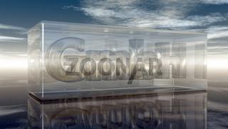 die buchstaben gmbh in glaswürfel unter wolkenhimmel - 3d illustration