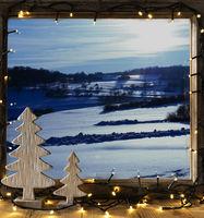 Window, Winter Landscape, Fairy Lights
