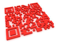 Render of a QR code (quick response) on a white background. Note: this qr-code is fake