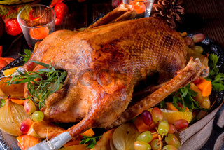 Christmas goose with pumpkin and fruit filling