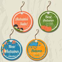 Set of 4 retro autumn tags.