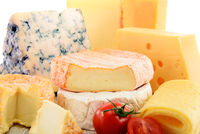 Different sorts of cheese isolated on white background.