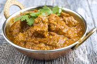 Traditinal Indian Lamb Curry as close-up in Korai