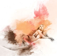 Seductive young woman with long hair in lingerie. Image combined with an digital effects. Digital art