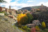 Albarracin, Aragon, Spain. Aerial view of medieval city Albarracin.