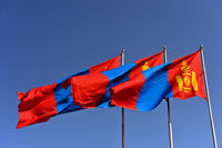 National flag of Mongolia with the Soyombo national symbol at the Parliament building, Ulaanbaatar