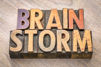 brainstorm word abstract in wood type