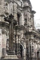 façade of the church La Compañia de Jesús made of Ecuadorian andesite stone, Quito,Ecuador