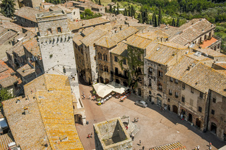 Stadt San Gimignano, Blick vom höchsten Turm Torre Grosso, Toskana, Italien