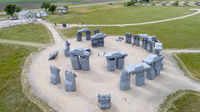 Carhenge, a modern replica of Stonehenge aerial view
