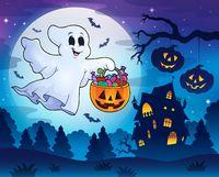Halloween ghost near haunted house 3