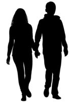 Silhouette of a girl and a young man walking alongside