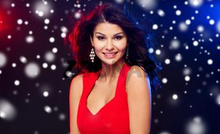 beautiful sexy woman in red at nightclub