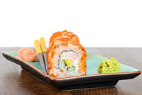 California maki sushi with orange masago