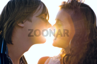 Kiss in the light of sunset