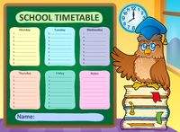 Weekly school timetable concept 9 - picture illustration.