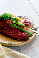 Delicious pork ribs seasoned with a spicy sauce