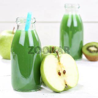 Grüner Smoothie Saft Apfel grün Kiwi quadratisch Fruchtsaft Frucht Früchte