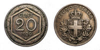 twenty 20 cents Lire Silver Coin 1920 Exagon Crown Savoy Shield Vittorio Emanuele III Kingdom of Italy