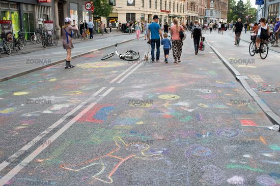 Chalk painting on Noerrebrogade in Copenhagen