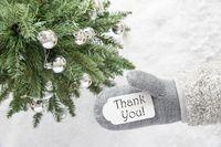 Christmas Tree, Glove, Text Thank You