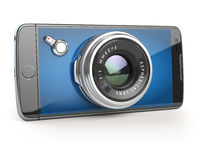 Smartphone digital camera concept. Mobile phone with camera lens isolated on white.
