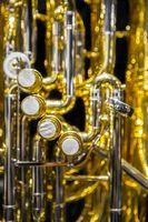 tuba piston valves closeup