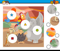 match pieces game with safari animals