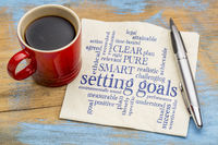 setting goals word cloud on napkin