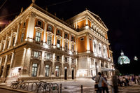 Famous Vienna state opera house at night